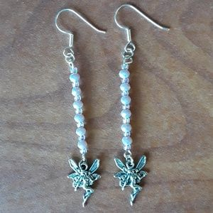 Jewelry - Naked fairy charm earrings with pink crystals